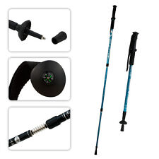 BLUE Trekking Walking Hiking Sticks Poles Alpenstock Adjustable Anti-Shock