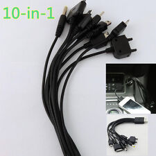 12V 10IN1 Multi Connector Plug USB Car Interior Mobile Phone Charger Cable Cord
