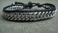 Men's Silver Chain And Black Leather Bracelet USA