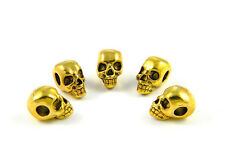10 Gold Metal Skull Beads (Horizontal Hole) For Paracord Bracelets & Lanyards
