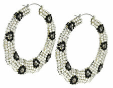 Leopard Sport Hoop Earring Clear Pave Crystals 80mm Drop