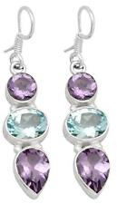 Natural Amethyst Blue Topaz Earrings Solid 925 Sterling Silver Jewelry IE20978