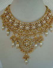 South Indian Traditional Jewellery gold tone pearl design necklace,earring &TIKK