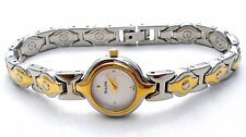Bulova Bracelet Lady's Watch White Dial Silver Gold Two Tone New Battery Works