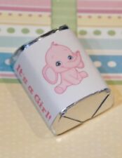 60 Baby Shower It's a Girl Pink Elephant Hershey Candy Nugget Wrappers Stickers