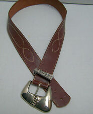 Vtg Western BILLY BELTS Silver Angled  Buckle TOPSTITCHED  Leather Roper 27-32 M