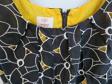 Suzi Chin for Maggy Boutique Dress Black White Embroidery Yellow  NWOT  Size  6