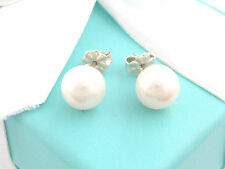 Tiffany & Co Sterling Silver Pearl Earrings 9mm Box Included