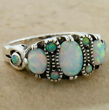 ANTIQUE VICTORIAN STYLE LAB OPAL RING 925 SOLID STERING SILVER RING Sz 10,  #143