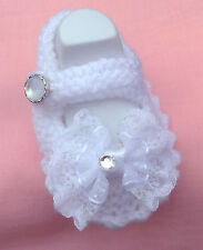 BABY HAND KNITTED CHRISTENING SHOES/BOOTIES/NEWBORN/REBORN/PHOTO PROP/8 CMS