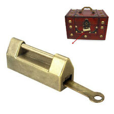 Zinc Alloy Chinese Traditional Retro Brass Jewelry Box Padlock Lock + Key Set