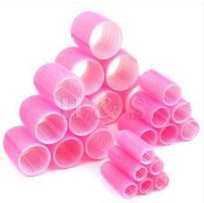 24 x Plastic Hair Rollers Curlers Pink Jumbo Hair Curler