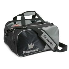 Brunswick Crown Black/Silver 2 Ball Tote With Shoe Pouch Bowling Bag