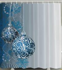 Christmas Blue Ball Ornaments Fabric SHOWER CURTAIN Snowflakes Bathroom Decor