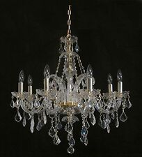 """Brand New PENDANT CHANDELIER WITH REAL CRYSTALS Gold Frame D28"""" x H28"""" 8 Light"""