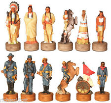 Chess Set Pieces Buffalo Soldiers vs Indian Tribe NIB