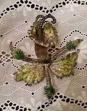 "Large Antique Enamel Sterling Silver Marcasite Orchid Brooch Iris Flower 3"" Pin"