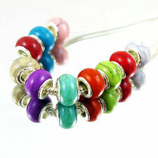 100 PCS mixed color Colorful Resin-Turquoise Beads Fits European Bracelet KM18