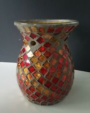Yankee Candle Glass Red/Gold Mosaic Tart Oil Warmer Burner Used