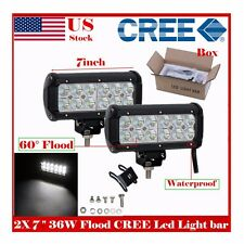 2x OFF ROAD 7INCH 36 WATT CREE LED WORK LIGHT BAR FLOOD 4WD ATV DRIVING SUV LAMP