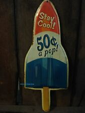 METAL BLUE RED WHITE BOMB ICE CREAM SIGN Popsicle stick soda fountain pop cola