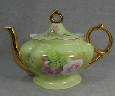 Lefton Hand Painted Green Heritage with Pink Roses Teapot #5857 Made in Japan