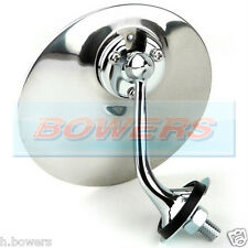 LH LEFT NEARSIDE LUCAS STYLE CHROME ROUND EXTERIOR WING DOOR MIRROR CLASSIC CAR