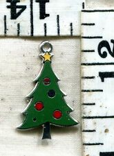 "VINTAGE STERLING BRACELET CHARM~THE ""BEAU"" ENAMELED CHRISTMAS TREE~$14.99!!!!"