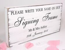 Personalised Signing Frame Free Standing Vintage Wedding Table Sign Shabby Chic