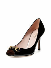 Authentic Gucci Jolene Patent Leather horsebit accent Heel Open Toe Pump size 36