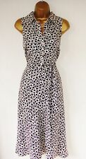PLANET SILK 20's 40's DRESS  8 NEAT BLACK CREAM CALF LENGTH POLKA DOT