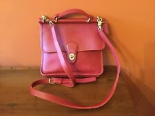 Vintage COACH Red Leather Bag Willis 9927 Cross Body Shoulder ~ USA MADE