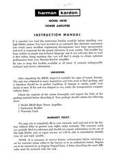 Harman Kardon HK20 Amplifier Owners Instruction Manual