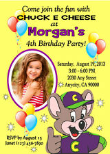 CHUCK E CHEESE CUSTOM BIRTHDAY PARTY INVITATION & FREE THANK YOU CARD