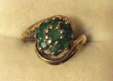 Lovely Ladies Full Hallmarked Early Vintage Solid 9ct Gold Emerald Cluster Ring