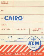 KLM ROYAL DUTCH AIRLINES TO CAIRO EGYPT OLD CARGO AVIATION LUGGAGE LABEL