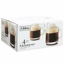 Libbey Moderno 10.4-oz. Clear Glass Cafe Mugs 4 Count Hot Beverage Coffee