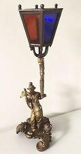 Antique, rare veilleuse en bronze XIXème, personnage Chine? Japon? Meiji? lampe