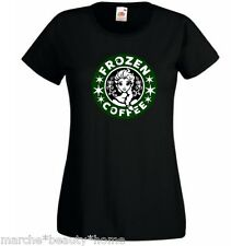 FROZEN star-bucks womans t-shirt lady fit coffee elsa funny tee black large