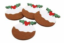 Pack of 4 Christmas Pudding Felt Coasters - Xmas Table Decorations
