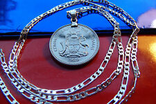 """1989 BAHAMAS Coat of Arms Coin Pendant on a 30"""" 925 Sterling Silver Chain"""