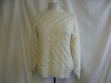 "Ladies Jumper cream acrylic hand cable knit crew neck chest 40"" length 24""1808"