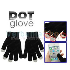 DOT GLOVES GUANTI CAPACITIVI TOUCH SCREEN HTC NOKIA ANDROID TAB TABLET PAD BLACK