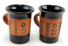 2 x Gordon Fox Kentmere Pottery mugs. Cumbria. English studio pottery. Floral