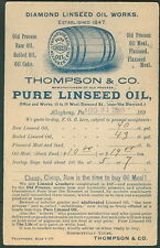 1895, Thompson & Co. Pure Linseed Oil blue advertising cover Allegheny PA