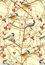 Timeless Treasures ~ Realistic CHICKADEES Birds ~ 100% Cotton Quilt Fabric BTY