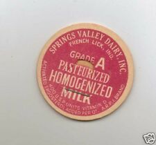 MILK BOTTLE CAP. SPRINGS VALLEY DAIRY, INC. FRENCH LICK, IN.