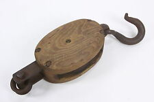 Antique Union Hardware Co Pulley  Iron and Wood  Vintage Farm Barn Block Tackle