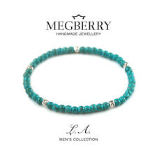 MEGBERRY Mens 925 Sterling Silver & Turqouise Beaded Bracelet UK Valentines gift