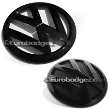 2015 2016 MK6 JETTA VW Volkswagen PAIR FRONT REAR grill badge GLOSS BLACK 2nd FL